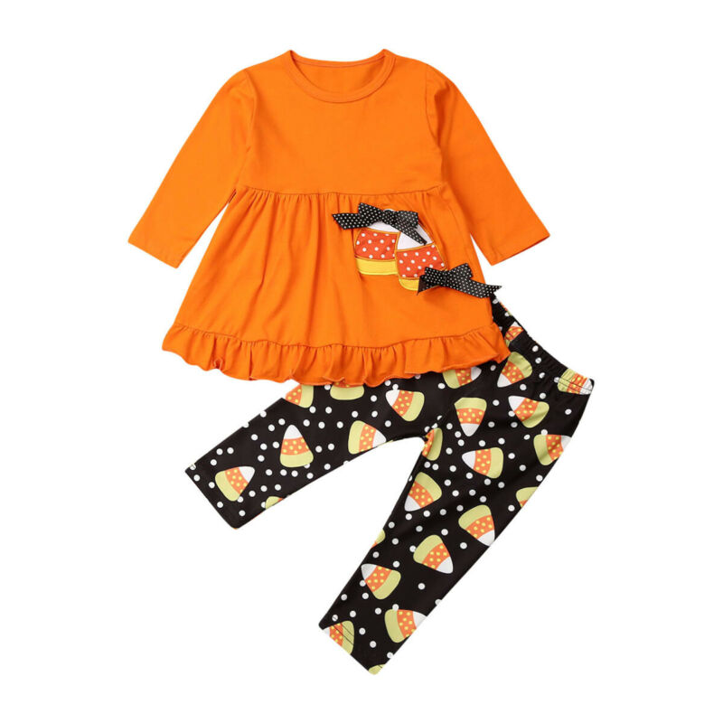 Toddler Baby Girl Long Sleeve T-shirt Tops Dress Flower Pants Leggings Halloween Costume Clothes Set