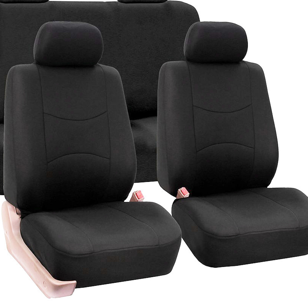 Car Front Rear Seat Cushion Universal Auto Backrest Headrest Cover Black Polyester Car Seat Cover Interior Accessories