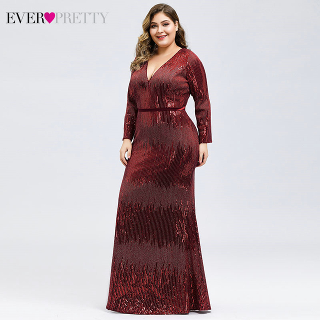 Luxury Prom Dresses Plus Size Ever Pretty Full Sleeve Deep Mermaid V-Neck Sequined Sexy Autumn Winter Party Gowns Gala Jurk 2020 3