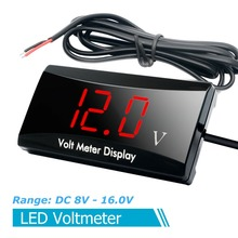 3-digit LED Digital Display Car Voltmeter Volt Meter General Purpose For 12V Voltmeter Of Automobile And Motorcycle 3 digit blue led digital voltmeter meter module 3 3 17v