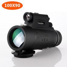 Poderoso Monocular 100X90 al aire libre LED de visión nocturna telescopio para Smartphone BAK4 Monocular con brújula para viajes de Camping