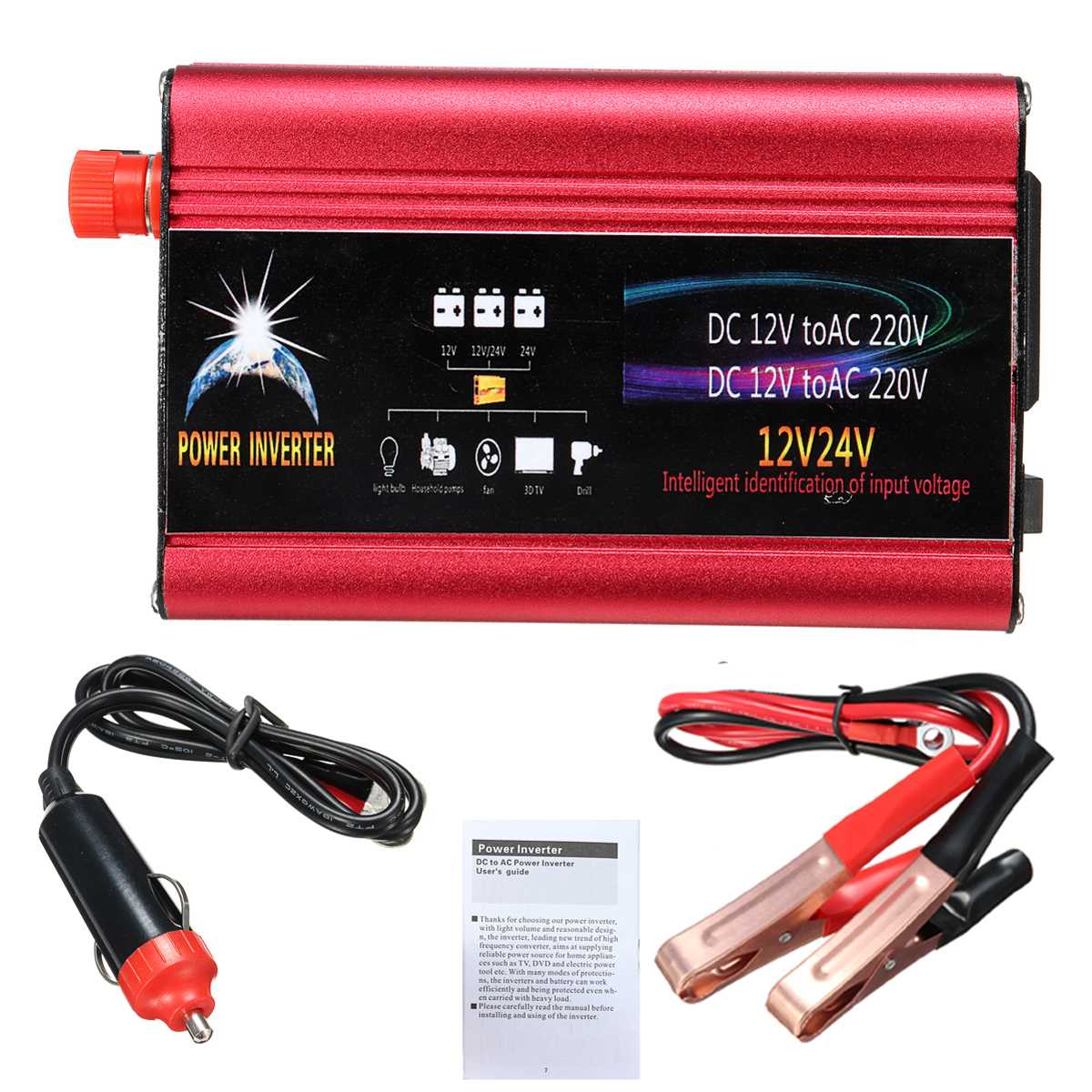 <font><b>Inverter</b></font> 12v 220v <font><b>2000W</b></font>/3000W DC <font><b>24V</b></font> to AC 220V Car Power Solar <font><b>Inverter</b></font> Modified Sine Wave Car Charger USB Converter Adapter image