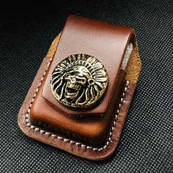 Skórzane etui na zapalniczkę etui na papieros ręcznie zapalniczka olejowa torba na zapalniczkę Zippo Model American Indian