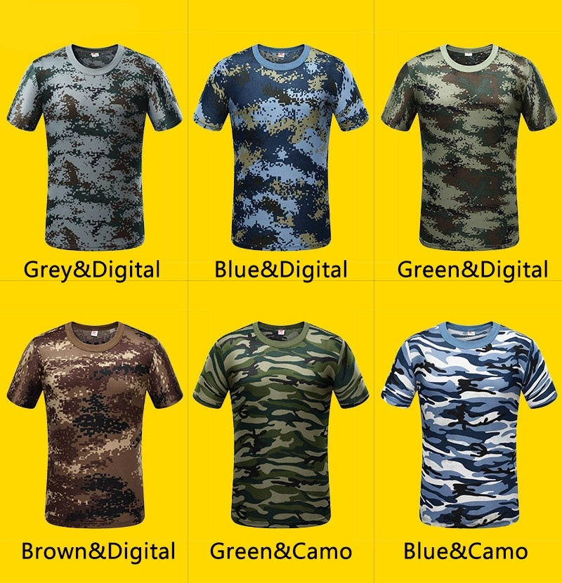 Camouflage T-shirt Men Breathable Army Tactical Combat T Shirt Military Dry Camo Camp Green