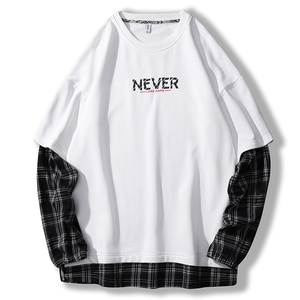 Image 4 - SingleRoad 대형 Crewneck 스웨트 남성 격자 무늬 패치 워크 힙합 일본어 Streetwear 블랙 까마귀 스웨터 남성 후드