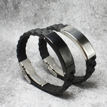 Men Stylish Wide Silicone Band Bracelet Punk Black/Silver Stainless steel Cuff Bangle Male Wristband Mens Jewelry new fashion punk jewelry men bracelet stainless steel cuff bangle silver hand chain black silicone wristband