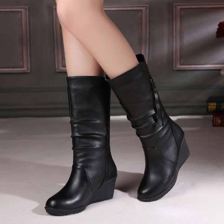 Mùa đông Giày 2019 Phụ Nữ Giày Wedge đẹp Giày Nữ Giày Nữ Đen Thời Trang Mẹ Giày Da Giày Mũi Tròn Nữ Giày