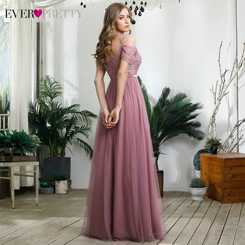 Elegant Dusty Pink Evening Dresses Ever Pretty Sequined A-Line Spaghetti Straps Tulle Sparkle Evening Gowns Abiye Gece Elbisesi 2