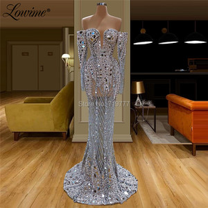 Image 3 - Illusion Full Beaded Evening Dress Handmade Pearls Crystals Saudi Arabia Party Dresses See Through Prom Dress Robe De Soiree