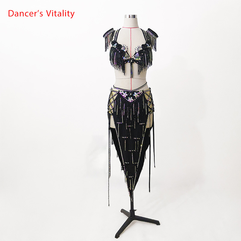 Belly Dance Competition Outfits Customized Bra Diamond Tassel Skirt Set Oriental Indian Drum Dancing Stage Performance Costume