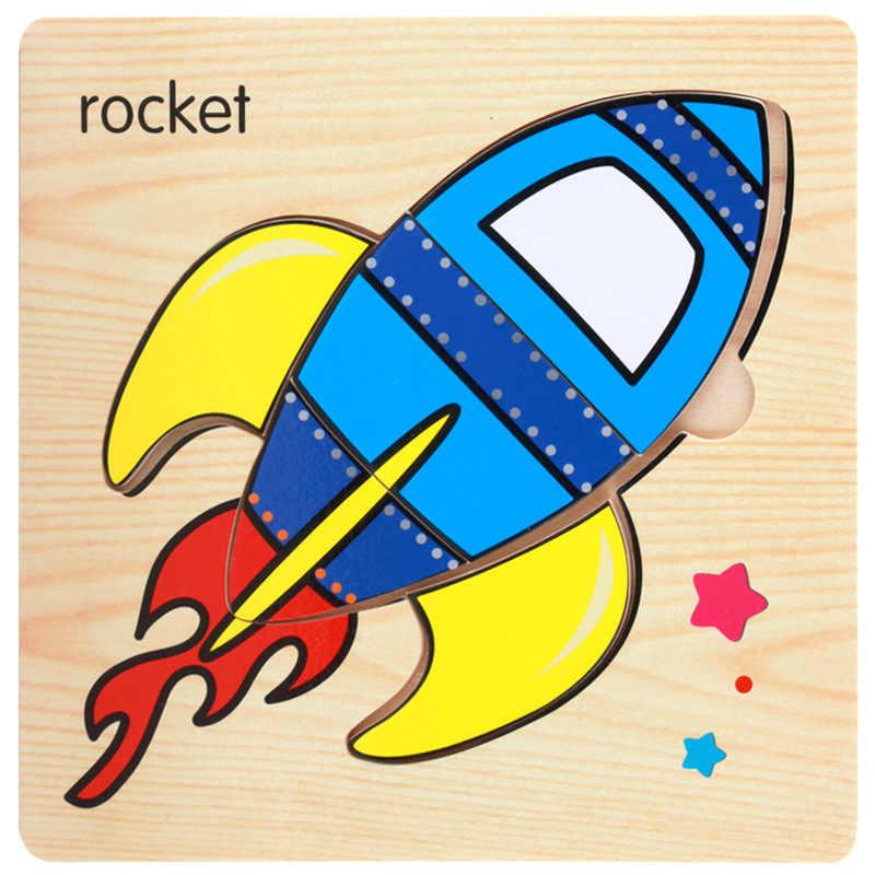 مونتيسوري ألعاب الأطفال لغز خشبي/التعليم لعبة خشبية الكرتون سيارة البحر قطعة بازل على شكل حيوانات الكرتون أنيمي مجموعة/لعب الأطفال هدية