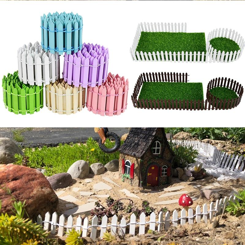 3/5*100cm Miniature Small Wood Fencing Fairy Garden Barrier DIY Dollhouse Wooden Craft Mini Fence Figurine Home Decoration Acces