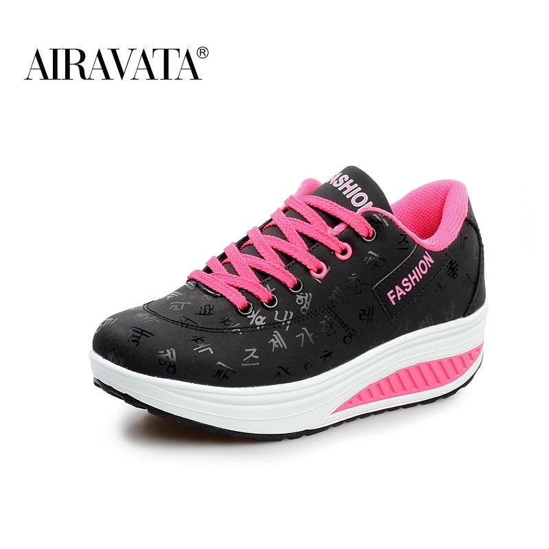 Black-Women Platform Running Shake Shoes Thick Bottom Wedges Sneakers