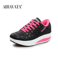 Black-Women Platform Running Shake Shoes Thick Bottom Wedges Sneakers