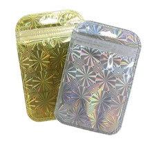 50 шт маленькие пластиковые сумки на молнии золотистого/серебристого