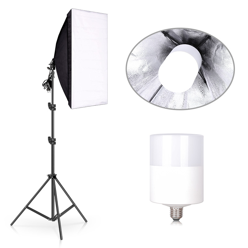 Photography Studio Continuous 50x70CM Soft Box Lighting Kit E27 20W 6500K Bulb With 200cm Light Stand for Photo Video Shooting