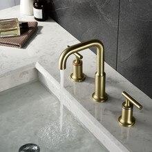 цена на Brushed Gold Kitchen Facuet Deck Mounted Dual Handle Bathtub Bathtub Faucet Sink Mixer Water Taps Bathroom Tub Shower Faucet