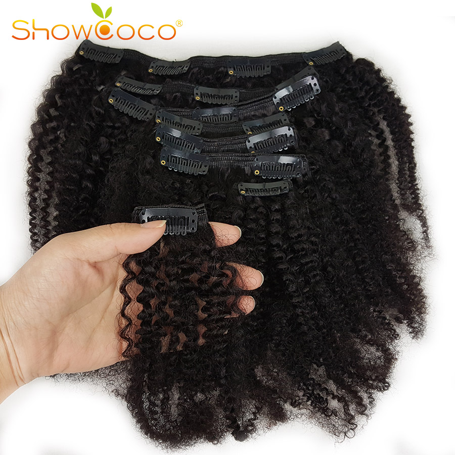Showcoco Human-Hair-Extension Kinky-Curly-Hair Mongolian Clip-In Remy Real Afro 8pcs title=