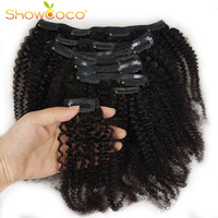 Showcoco Mongolian Kinky Curly Hair 8pcs Afro Clip in Real Human Hair Extension Machine made Remy 125G