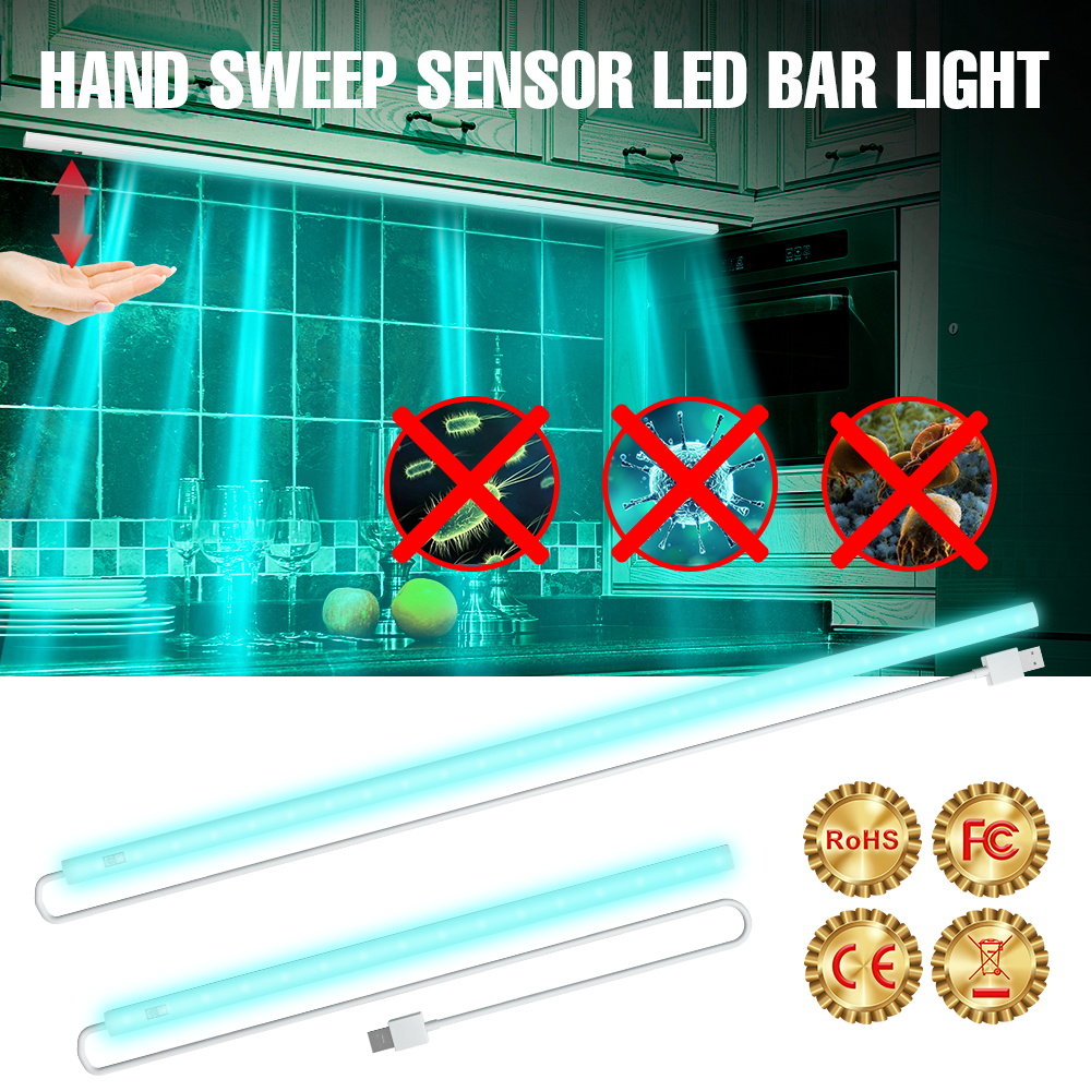 Hand Sweep Smart Sensing Ultraviolet Light Led Disinfect Bacterial Kitchen Cabinet UV Lamp USB 20/30/40/50CM UVC Germicidal Tube
