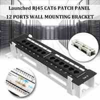 Network Tool Kit 12 Port CAT6 Patch Panel RJ45 Networking Wall Mount Rack with Surface Wall Mount Bracket