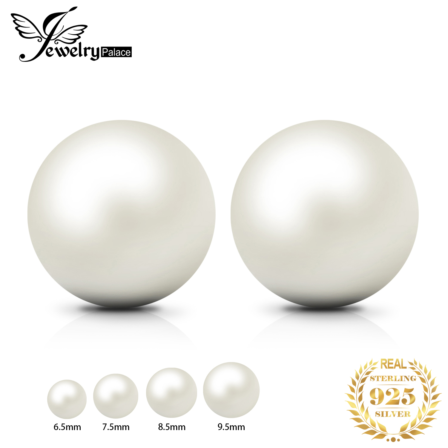 JewelryPalace Freshwater Cultured Pearl Ball Stud Earrings 925 Sterling Silver Earrings for Women Korean Earings Fashion Jewelry(China)