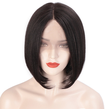 AISI HAIR Black Kinky Straight Synthetic Lace Front Wig Short Bob Wigs
