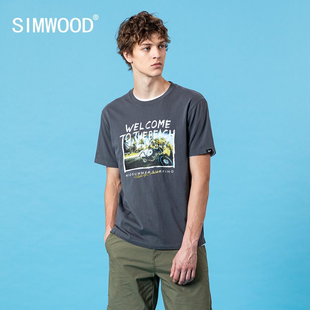 SIMWOOD 2020 Summer New Digital Holiday Print  T-shirt Men Fashion O-neck Plus Size Tops 100% Cotton Tees SJ120316