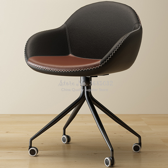 Steel Leg Office Chairs With Wheels Home Living Room Comfortable Lazy Sofa Leisure Swivel  Metalic Boss Chairs Office Furniture