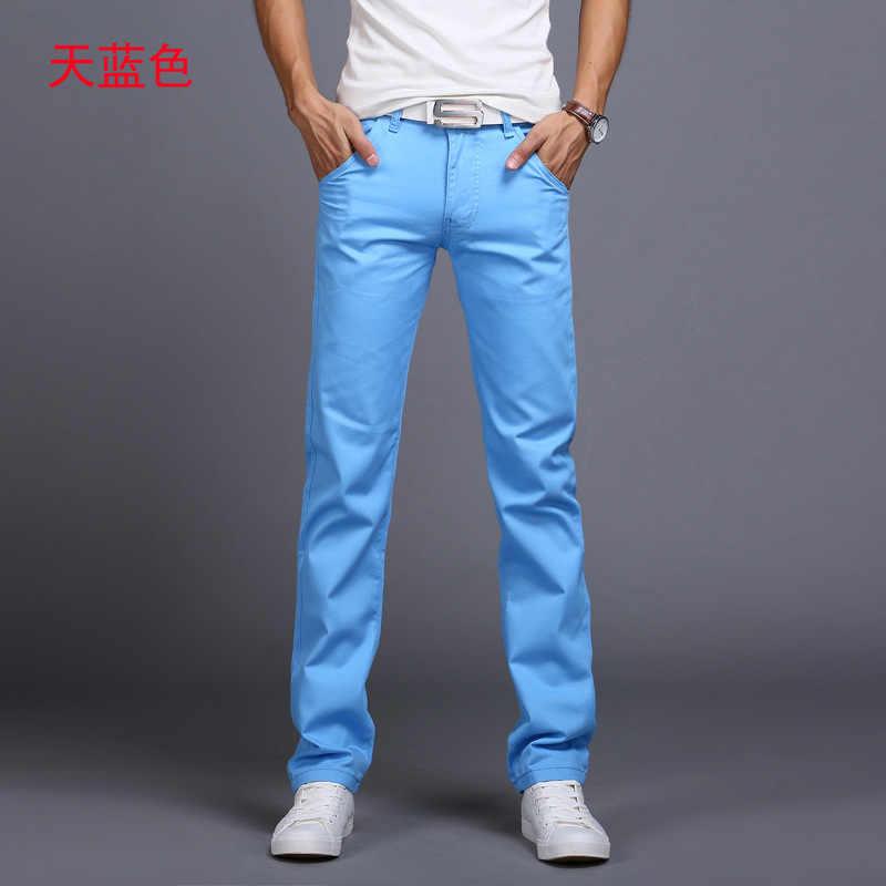 CHOLYL Neue Design Casual Männer hosen Baumwolle Dünne Hose Gerade Hosen Mode Business Solide sky blau schwarz Hosen Männer 28 -38