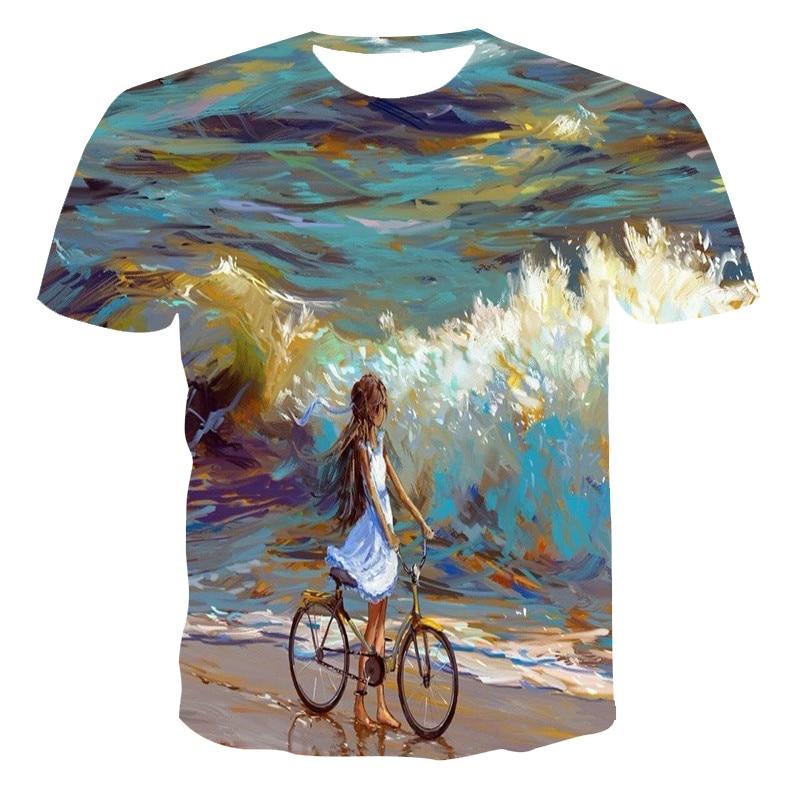 男性と女性夏新、三次元ファッションtシャツ。2020ファッションtシャツ虹風景半袖