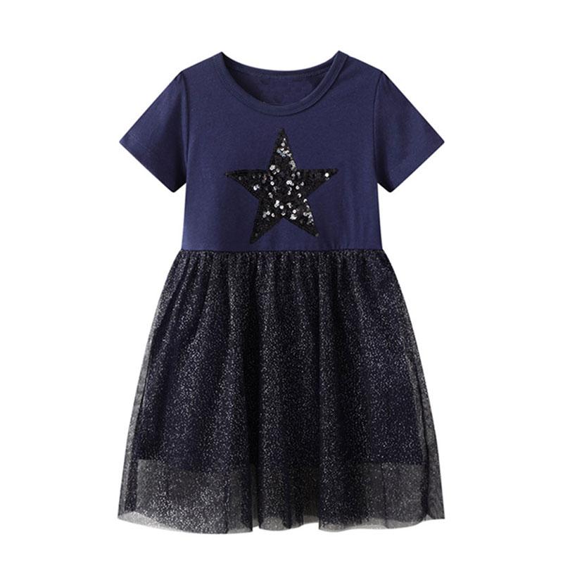 Infant Baby Kids Dresses for Girls Short Sleeve Dress Black Sequined Star Clothing Summer Casual Dress Unicorn Children Costume 1