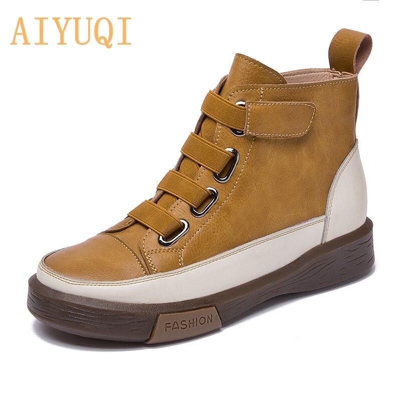 AIYUQI/женские кроссовки; Обувь на плоской подошве; Женские ботинки из натуральной кожи; Новинка 2021 года; Трендовые весенние женские ботильоны