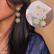 2020 Korean Elegant Yellow Crystal Flower Petal Tassel Drop Earrings For Women Sweet Flower Jewelry Gift france dyxytwe ladybug pink flower tassel luxury jewelry women gift enamel glaze jewelry
