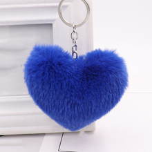 Fluffy Heart Sleutelhanger Pom Pom Keychain Ring Women Bags Fashion Faux Rabbit Fur Pompom Package Key Chain Jewelry Accessories(China)