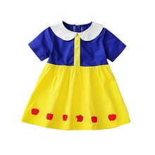 Snow White Style Summer Casual Baby Girls Fruit Pattern Short Sleeve Patchwork Dress Cotton Kids Toddler Sundress New Hvlv(China)