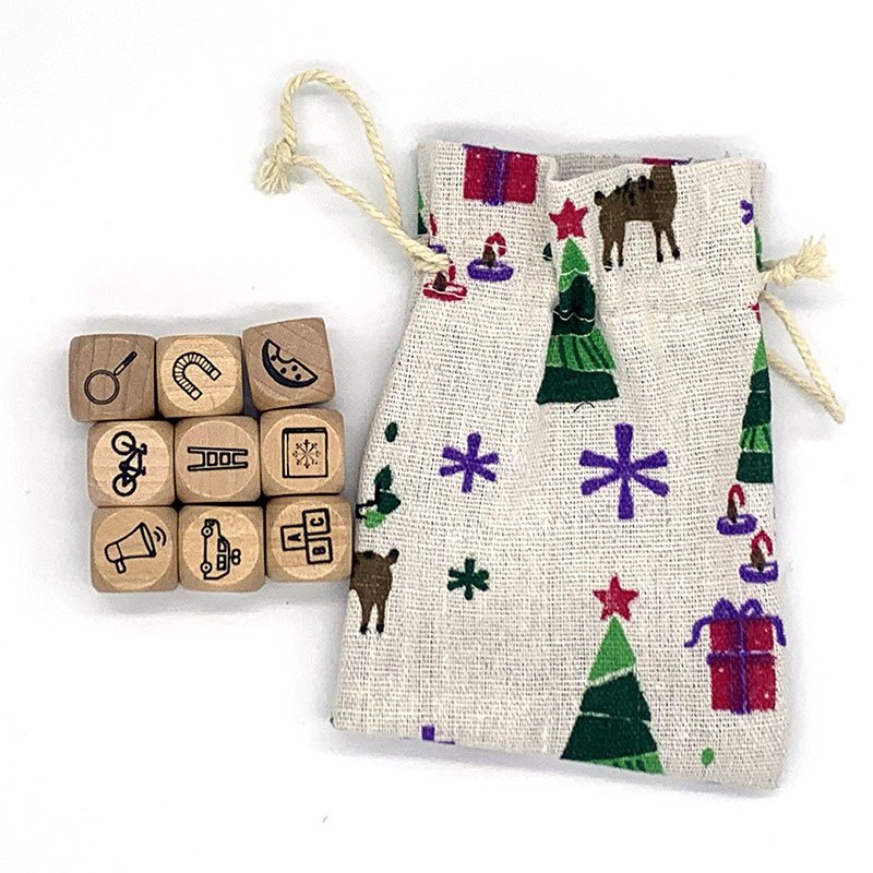 9 Pcs/set Wooden Dice Telling Story With Bag Story Dice  Education Toys Family/Parents/Party Funny Imagine Language Toys