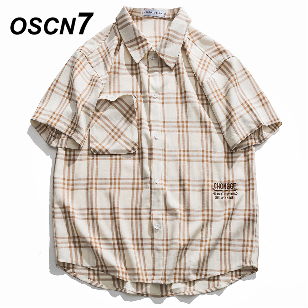 OSCN7 Casual Plaid Short Sleeve Shirt Men Street 2020 Hawaii Beach Oversize Women Fashion Harujuku Shirts for Men <font><b>60109</b></font> image