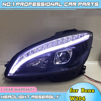 Car Styling for Benz W204 headlights 2007 2011 C180 C200 C260 led headlight led drl H7 hid Bi Xenon Lens low beam