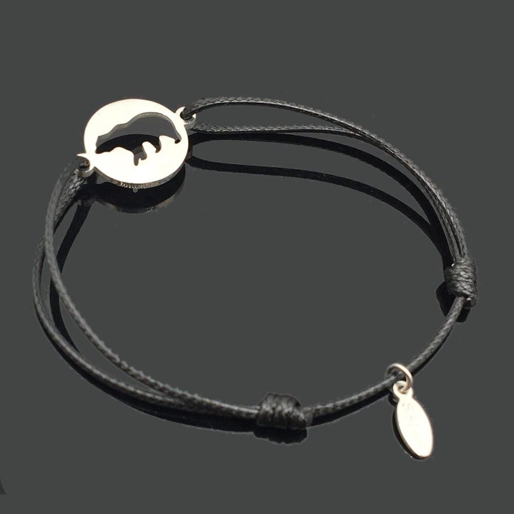 2 шт браслет желаний из нержавеющей стали, регулируемый шнур, хороший браслет, приносящий удачу, красный браслет дружбы - Окраска металла: stainless bear