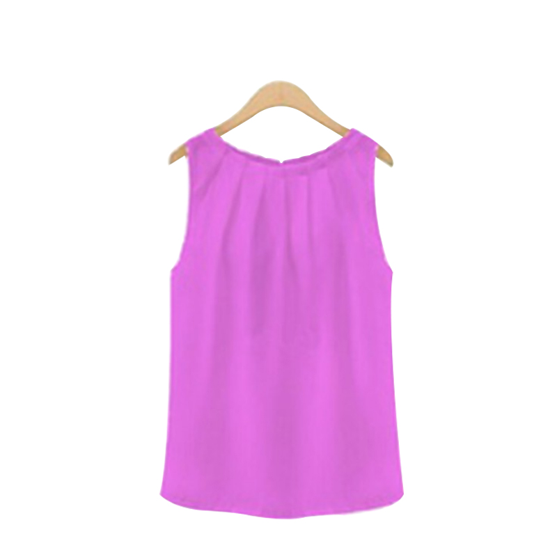 Summer Blouse Elegent Women Solid Color Chiffon Shirts Casual Sleeveless O-neck Loose Pullover Blouse Tops Clothing 6
