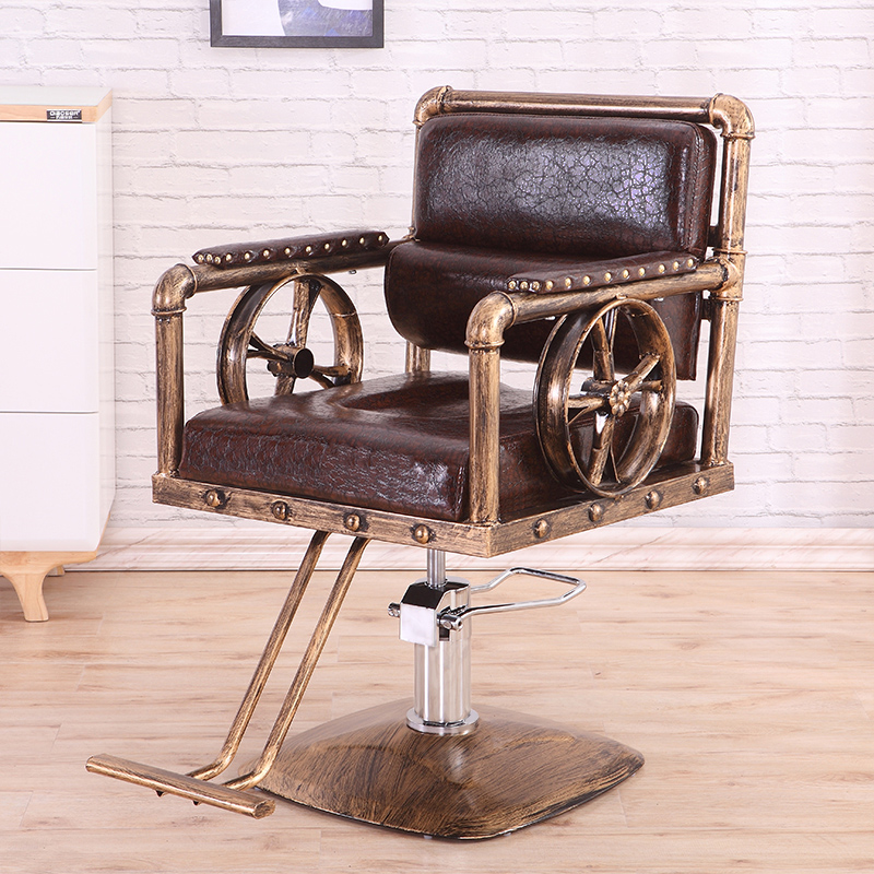 Retro Wrought Iron Hairdressing Chair Barber Shop Barber Chair Hair Salon Special Chair Lift Adjustable Chair