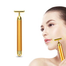 цена на T Type Massager Face 24k Gold Vibrating Facial Massager Beauty Roller Firming Wrinkle Magic Tool Face Roller Skin Care Tools