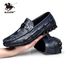 Genuine Leather Men Casual Shoes British Style Slip-on Handmade Luxury Loafers Male Crocodile Texture Soft Driving Shoes Summer cangma british style leather pointed shoes tassel casual men handmade designer leisure slip on shoes 2017 male sapato masculinos