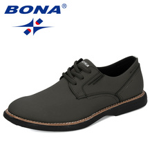 BONA 2020 New Designers Cow Split Fashion Shoes Men Casual Shoes Man Trend Solid Outdoor Flats Wear Resistant Leisure Footwear