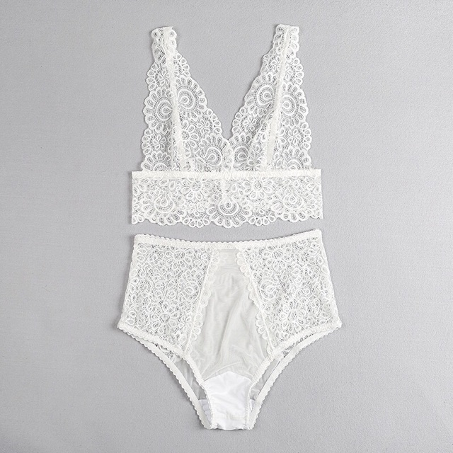 2pcs/Set Hot sale solid high waist sexy Perspective lace Women Open Underwear Sexy Lace Bra Panties Set Plus Size S-5XL Bralette