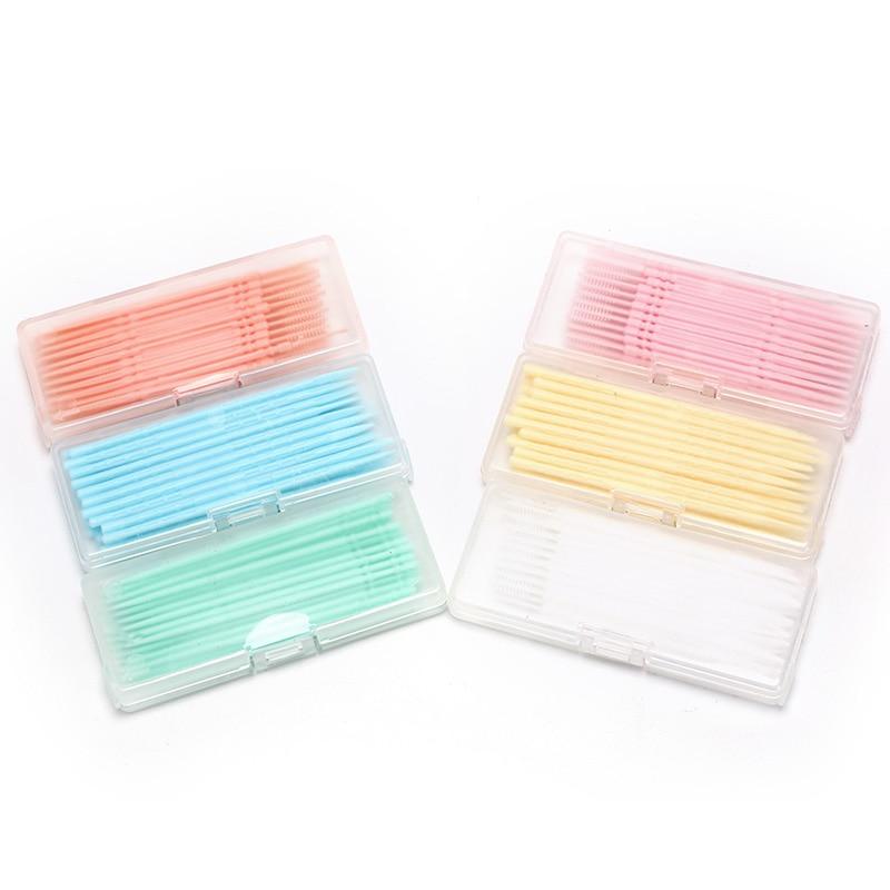 40Pcs/ Box 2-way Oral Dental Picks Plastic Toothpick Oral Dental Picks Eco-Friendly Disposable Tooth Picks