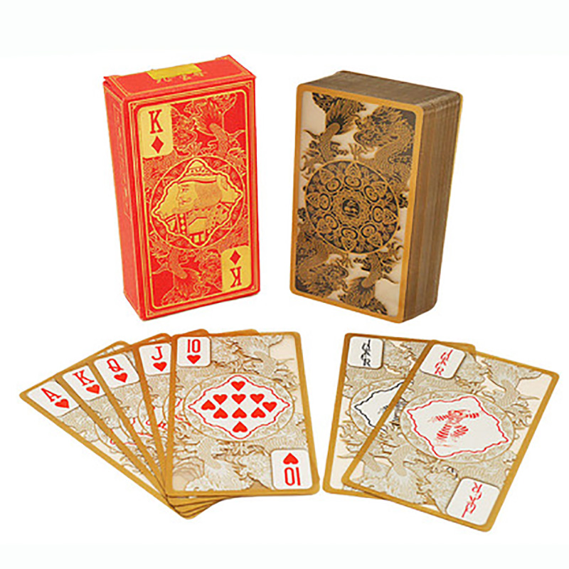 1 Piece RED/BLACK Plastic PVC Poker Waterproof Transparent Gold Dragon Pattern Playing Cards Creative Gift Poker