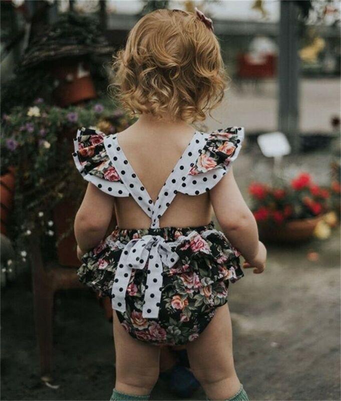 US 2PCS Newborn Baby Girls Floral Romper Bodysuit Jumpsuit Outfit Clothes Summer