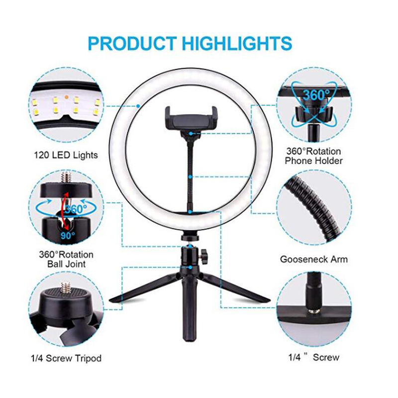 LED Selfie Ring Light 24W 5500K Studio Photography Photo Fill Ring Light With Tripod For Iphone Smartphone Makeup